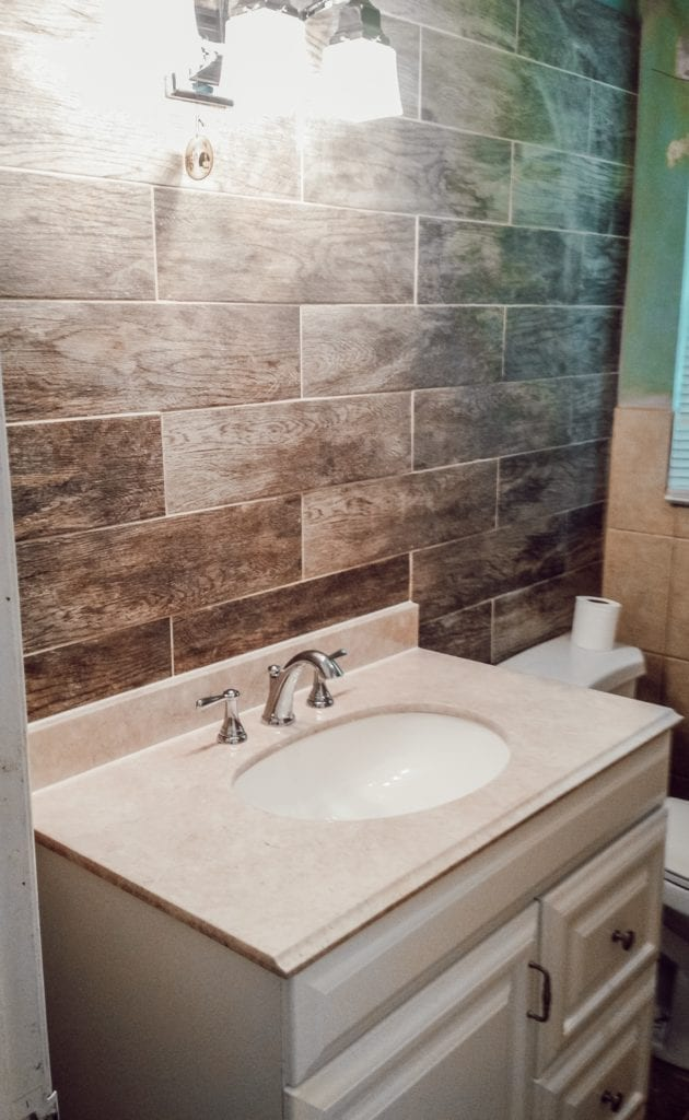 new sink and wall tiling