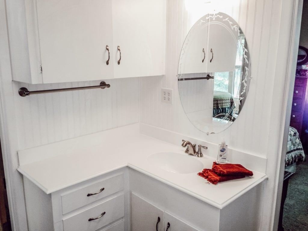 close up of remodeled bathroom sink