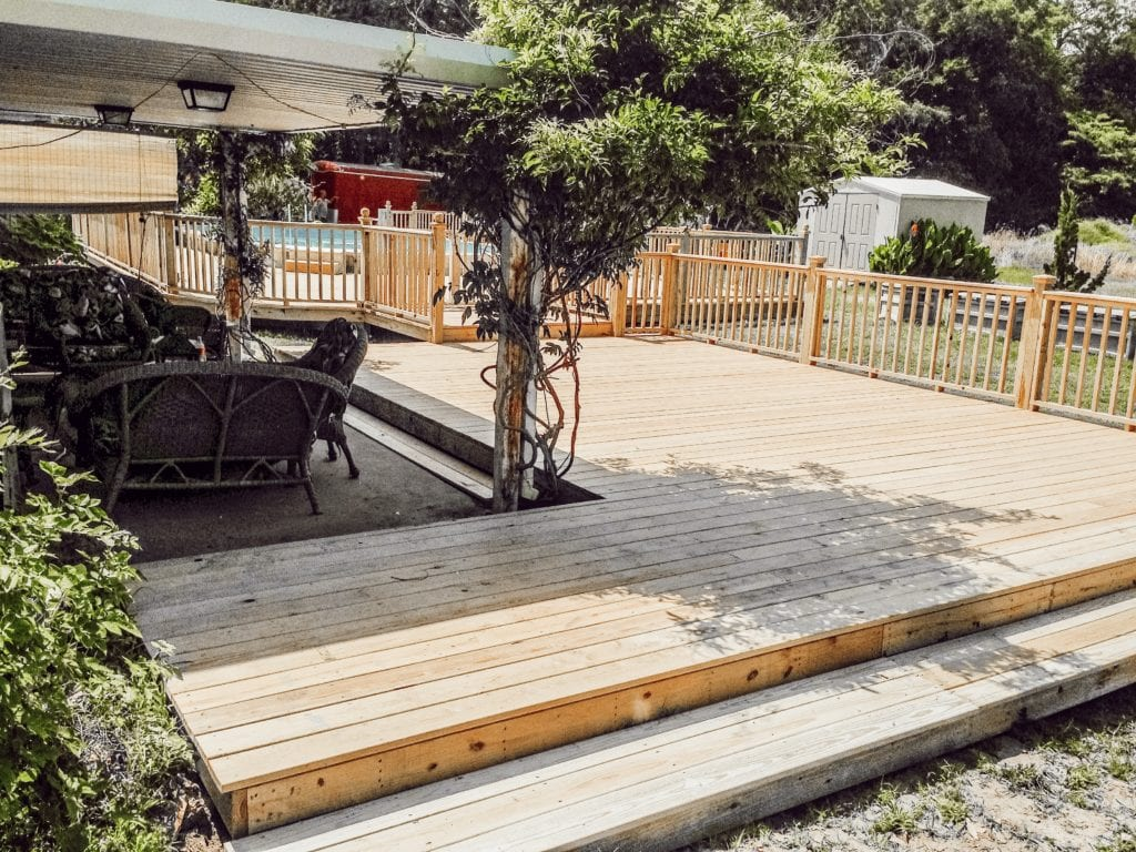 deck, patio, and steps