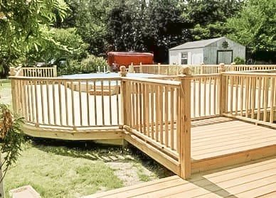deck build around pool